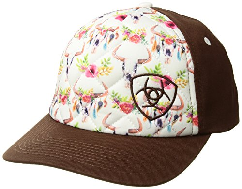 Ariat Women's Cow Skull and Flowers Print Cap, White, OS