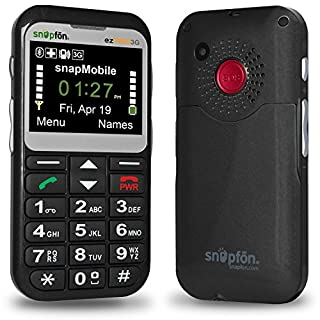 Snapfon ezTWO3G Locked to Snapfon Network | Activation Kit Included | Only for The Snapfon Network | Senior GSM Cell Phone, SOS Button, Hearing Aid Compatible, Mobile Monitoring Service Ready