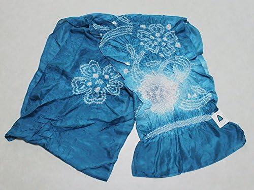 正絹兵児帯 グリーンブルー系色の帯 絹のへこ帯 浴衣用 七五三用 ちょっぴり理由あり D0608-02