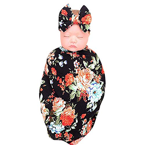 Price comparison product image Kasien Newborn Receiving Blanket,  2Pcs Newborn Infant Baby Swaddle Blanket Sleeping Wrap+Headband Set (Multicolor)