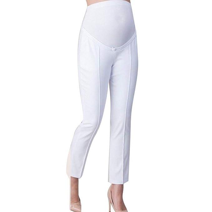 bfa13e040b4d Gravidanza Pantaloni Donna Eleganti Moda Pantaloni di Stoffa Primaverile  Autunno con Tasche MorbidiChic Ragazza High Waist Lunga Pantaloni con  Elastico ...