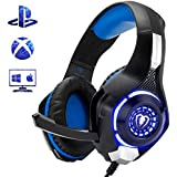 GRECEDAY Gaming Headset for PS4, Comfort Noise Reduction Crystal Clarity 3.5mm LED Professional Headphone with Mic for Xbox One PC Laptop Tablet Mac Smart Phone