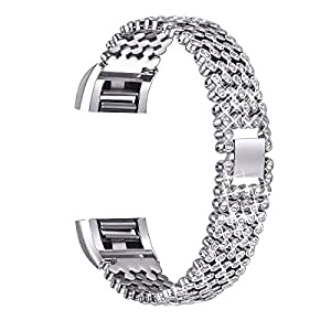 """For Fitbit Charge 2 Bands, bayite Replacement Metal Adjustable Bracelet Bands for Fitbit Charge 2 HR Heart Rate, Silver, Black, Rose Gold, Style E (Silver with Rhinestone, 17cm - 19cm (5.5"""" - 7.5""""))"""