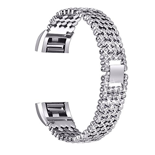 bayite Metal Bands Compatible Fitbit Charge 2, Replacement Bracelet Adjustable Women Rhinestone, Silver