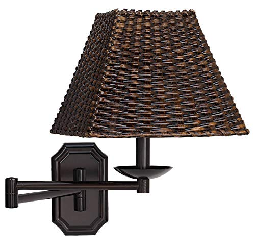 (Bronze with Walnut Wicker Shade Plug-in Swing Arm Wall Lamp - Barnes and Ivy)