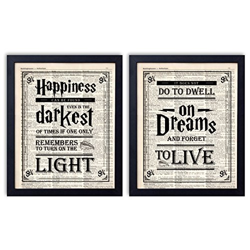 Harry Potter Quotes and Sayings Vintage Dictionary Art Prints | Set of Four Photos 8x10 Unframed | Great Unique Inspirational Harry Potter - Harry Potter Frames