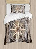 Ambesonne Marine Life Duvet Cover Set Twin Size, Navy Sea Life Yacht Theme Colored Wood Backdrop Rudder like Compass Marine Image, Decorative 2 Piece Bedding Set with 1 Pillow Sham, Brown