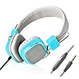 Jelly Comb Wired Stereo Lightweight Foldable Headphones Headband Headsets with Microphone 3.5mm for Cellphones Smartphones Iphone Laptop Computer Mp3/4 Earphones (Blue)