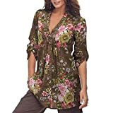 Kanhan Women Half Sleeves Shirt, Ladies Vintage Floral Print V-Neck Tunic Blouse Women's Plus Size Loose Bodycon Tops (Coffee, XXL)