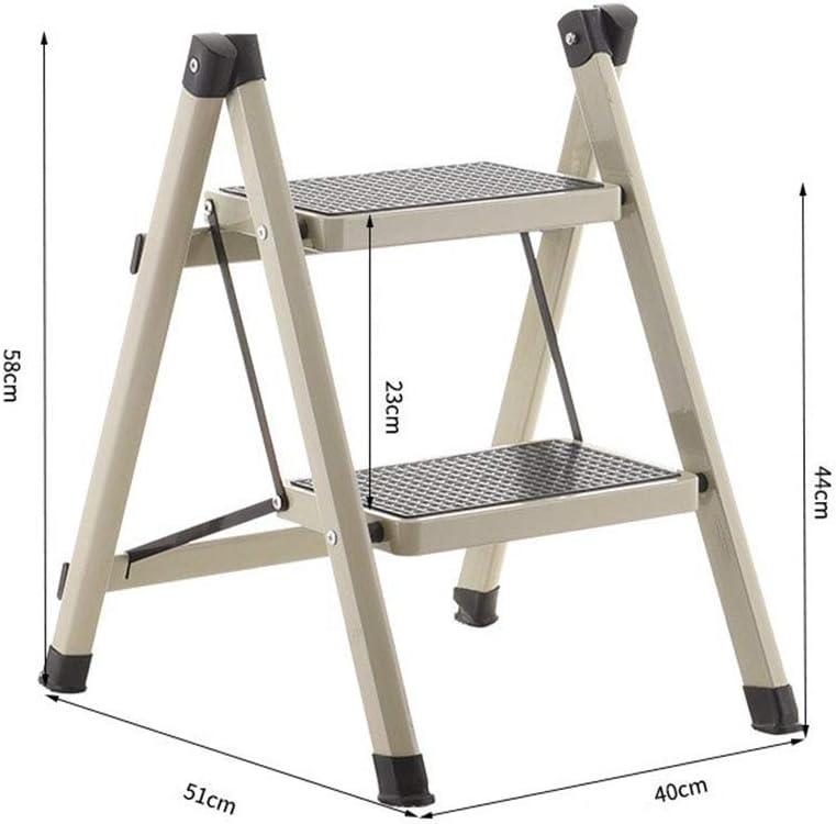 ACZZ Escalera plegable de 2 peldaños, escalera de mano portátil para el hogar Escalera plegable antideslizante Extensión para el hogar Escalera exterior para el hogar, blanco,gris: Amazon.es: Bricolaje y herramientas