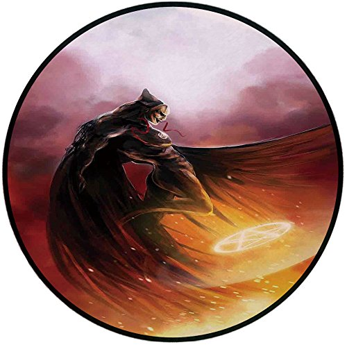 Printing Round Rug,Fantasy World,Superhero in His Original Costume