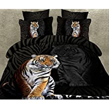 Norson 3d Animal Bedding Sets / Lions and Tigers Bedding Sets / King of the Forest Bedding 4pc Set / 5pc Set / Prints Duvet Cover Set / Bed Linens / Bed Sheet Sets / Bedclothes / Bedding Sets / Bed Sets / Bed Cover / Bedding in a Bag / Queen (4pcs without comforter, 2)