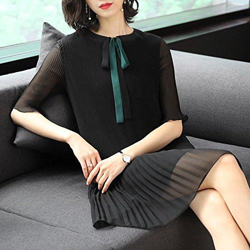 Xia Nouveau plisse Jupe Femme Robe Longue MiGMV Black 2018 Robes Mousseline de Robe Jupe Style de M Froid wqZK0XZ1