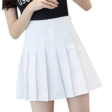 743b529d40d2a1 Sensail Couleur Unie Taille Haute Couture d'été Jupe Patineuse Mini ...