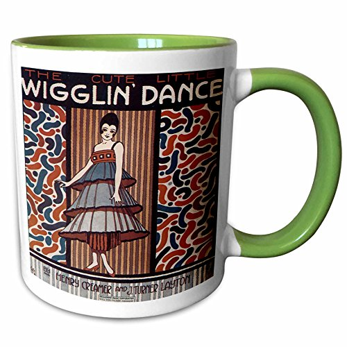 (3dRose BLN Vintage Song Sheet Covers Reproductions - The Cute Little Wiggle Dance Woman in 20s Style Dress Dancing - 15oz Two-Tone Green Mug (mug_171114_12))
