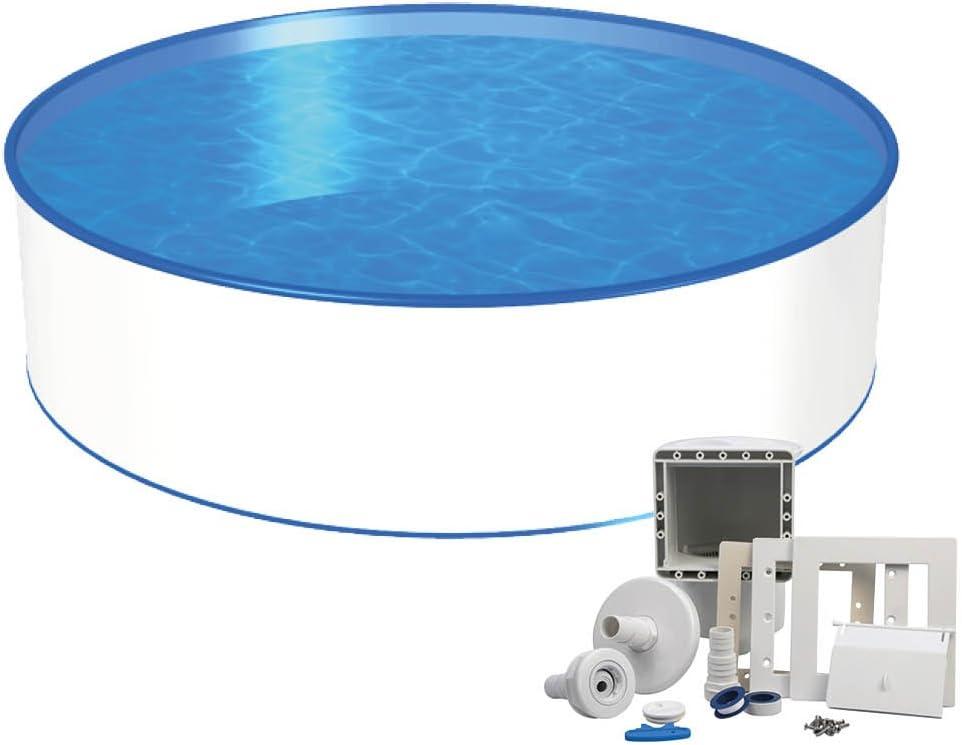 Piscina redonda, 4 (diámetro) m x 1,20m, 0,6mm, pantalla con revestimiento de acero, set de mantenimiento y boquilla de entrada