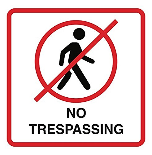 Large 9x12 - Sticker No Trespassing Print No Person Walking Picture Red White Black Window Home Office Business Outdoor Sticker Signs Comm - Business People Walking