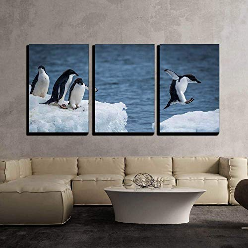 - wall26 - 3 Piece Canvas Wall Art - Adelie Penguin Jumping Between Two Ice Floes - Modern Home Decor Stretched and Framed Ready to Hang - 16