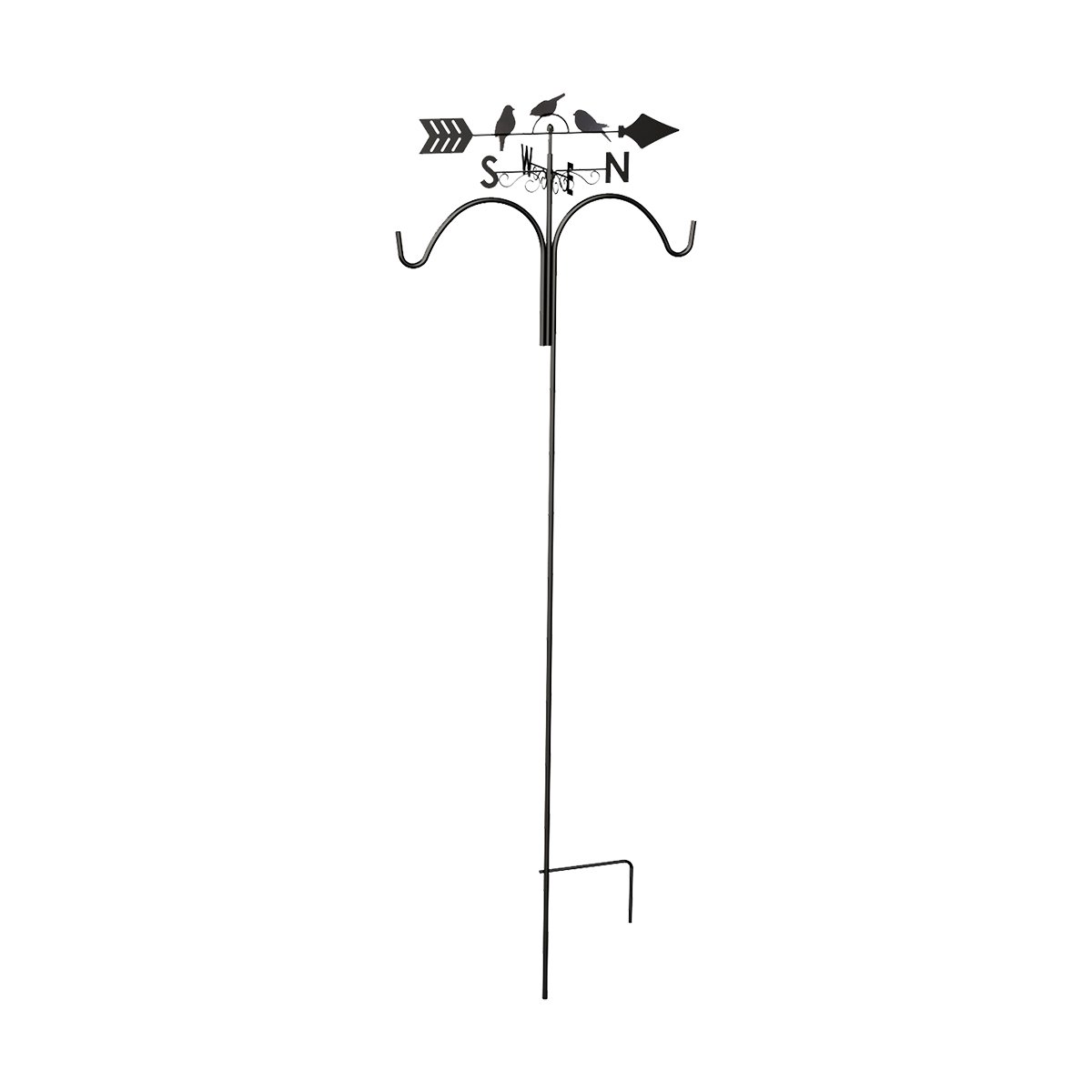 78'' Perching Birds Weathervane Shepherd Hook, Rust