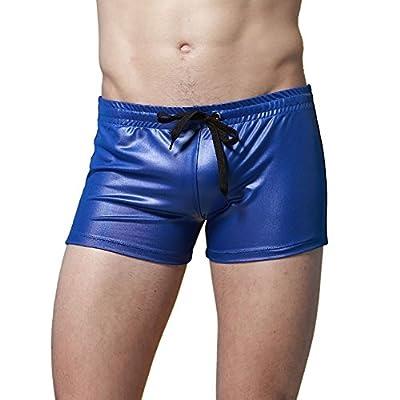 TIAOBU Mens Patent Leather Drawstring Boxer Briefs Swim Trunks Underwear