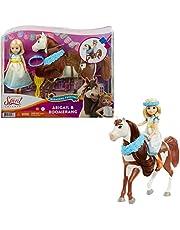 """DreamWorks Spirit GXF65 – """"Spirit – fri och otämja"""", Miradero festival, docka Abigail (18 cm) med klänning, blomkrona och häst boomerang (20 cm), sadel och borste, present till barn från 3 år"""