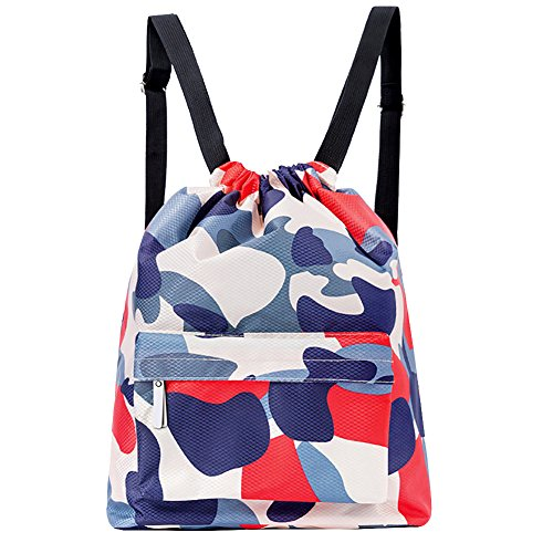 (Peicees Waterproof Drawstring Sport Bag Lightweight Sackpack Backpack for Men and Women(Camo Red/White/Blue)