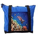 Lunarable Ocean Shoulder Bag, Old Tropical Sea Turtle Swims, Durable with Zipper