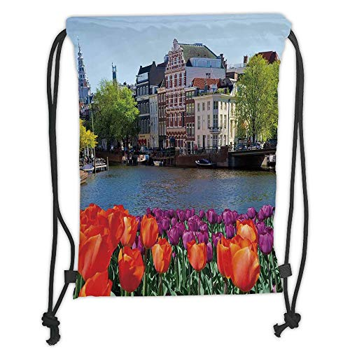 Landscape,European City Holland Amsterdam Scenery of Old Victorian Era Houses Art Print,Multicolor Soft Satin,5 Liter Capacity,Adjustable String Closure,T