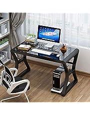 Computer bureau Eenvoudige desktop computer bureau, thuis slaapkamer bureau, eenvoudig bureau, studeerbureau, gehard glas bureau, klein kantoor bureau, eenvoudige home studiebureau voor studenten, multifunctioneel werkstation