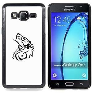 For Samsung Galaxy On5 O5 Case , Tatuajes Blanco Negro Tattoo minimalista - Diseño Patrón Teléfono Caso Cubierta Case Bumper Duro Protección Case Cover Funda