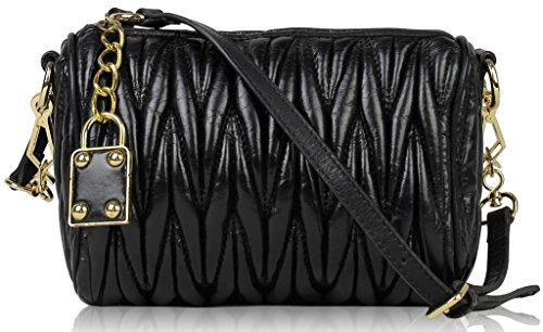 Lush Leather Lambskin Ruched Lock Quilted Purse Black Bag ()