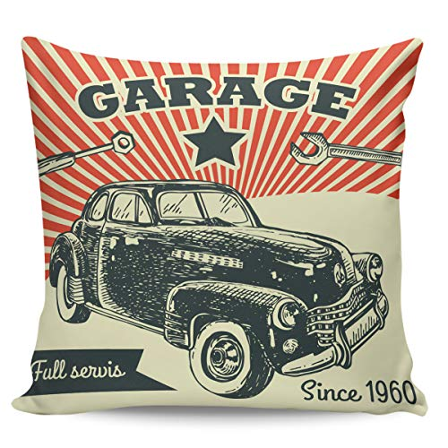 OUR WINGS Pop Art Car Throw Pillow Cover Decorative Cushion Pillowcase for Bed Sofa Couch Car 24