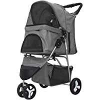 Bloodyrippa 3-Wheel Folding Pet Stroller for Cats Dogs, No-Zipper Entry, Retractable Waterproof Rain Hood, Storage Basket, Cup Holder, Grey