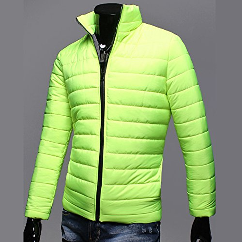 Toimothcn Men Lightweight Zipper Jacket Winter Warm Outdoor Windproof Stand Collar Coat (Light Green,XXL)