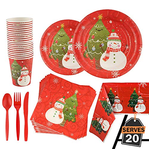 141 Piece Christmas Party Set Including Plates, Cups, Spoons, Forks, Knives, Napkins, and Tablecloth, Serves 20