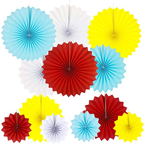 JUICY MOOM Circus Carnival Party Hanging Paper Fans Decorations Under the Top Baby Shower First Birthday Party Photo Booth Backdrops Props Hanging Decorations, 12pc ()
