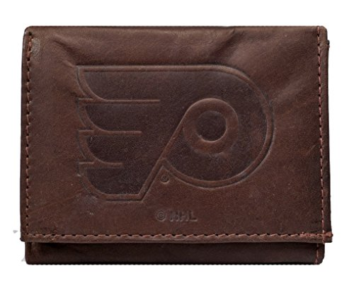 Rico Philadelphia Flyers NHL Embossed Logo Dark Brown Leather Trifold Wallet ()