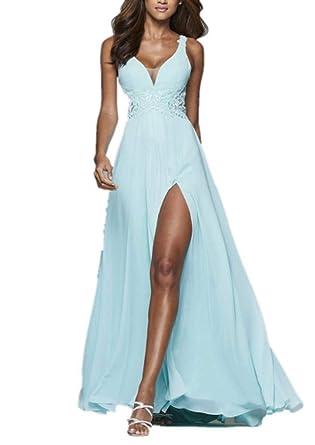 on sale a1c2f 3fc7e Royaldress Hell Blau Spitze Chiffon Beige Schlitze Abendkleider Partyleider  Abschlussballkleider lang