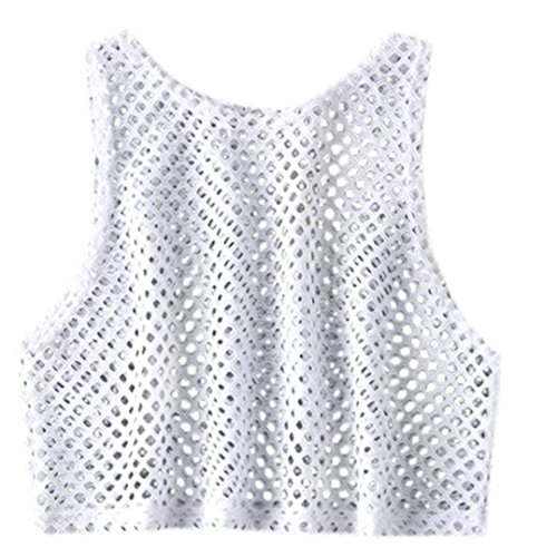 - Clearance! Women Tank Top JJLOVER Solid Net Sleeveless Sexy Vest O Neck Fashion Elegant Casual Short T-Shirt Blouse (White, XL)