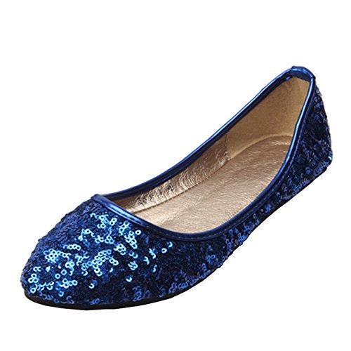 Fereshte Dames Comfort Kunstleer Spitse Neus Plat Pump Balletschoenen No.265 Blauw