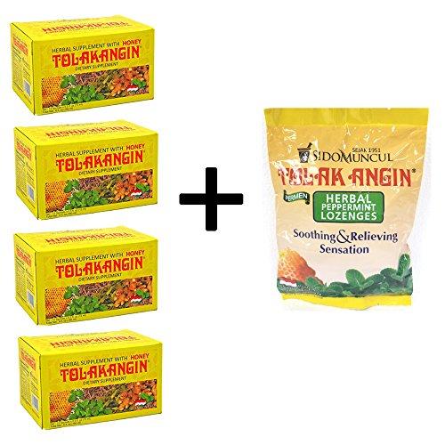 Bundle Packs – Sido Muncul Tolak Angin Herbal Supplement with Honey. 12×0.5oz (Pack of 4) + Sido Muncul Tolak Angin Permen – Herbal Peppermint Lozenges (Pack of 1)