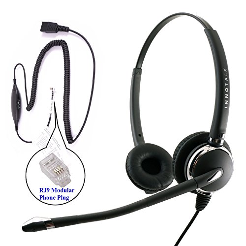 RJ9 Headset - Deluxe Pro Binaural Headset + 8 Selection Switches RJ9 Headset Adapter for ANY phone's jack - Gn Netcom Headset Adapter