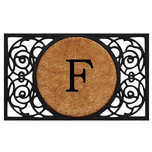 Calloway Mills 180031830F Armada Circle Monogram Doormat, 18 x 30 Letter F