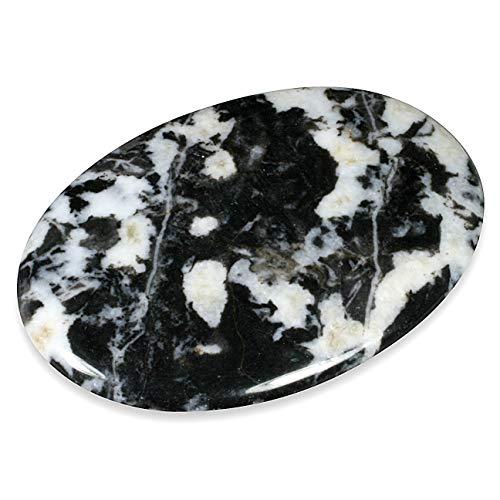 CrystalAge White Zebra Jasper Palm Stone