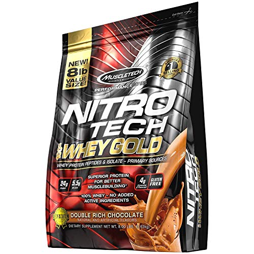 MuscleTech NitroTech 100% Whey Gold, Whey Isolate & Peptides, Double Rich Chocolate, 8 Pound ()