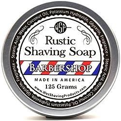 WSP Luxury Rustic Shaving Soap 4.4 Oz in Tin Artisan Made in America Using Vegan Natural Ingredients (Barbershop)