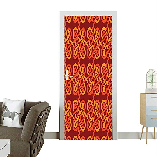 (Door Sticker Wall Decals Colored terlaced Ative Tage Celtic Knot European Graphic Red Orange Easy to Peel and StickW23.6 x H78.7 INCH)