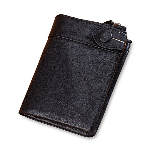 Genuine leather wallet for Men Short vertical style with a three-fold hand-made retro style zipper wallet with large capacity