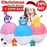 #5: Kids Bubble Natural Bath Bombs Gift Set with Surprise Toys Inside Huge Fun Lush Organic Bath Fizzy for Girls and Boys Great Best Brithday Christmas Gifts 3 XL 6.5oz