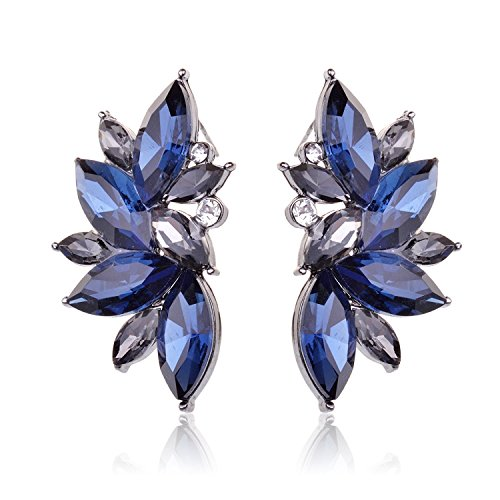 TAGOO Leaf Teardrop Crystal Earrings Set Silver-Tone White/Sea Blue/Pacific Blue (Dark Blue) (Earrings Sea Pacific)